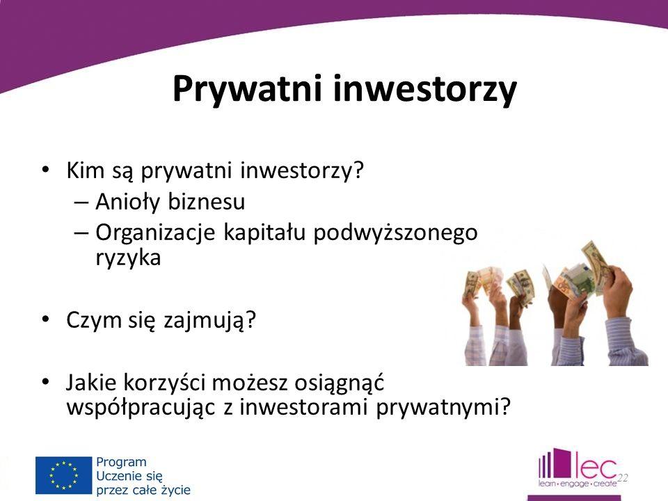 Prywatni inwestorzy Kim są prywatni inwestorzy.