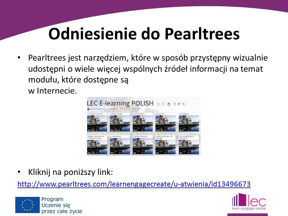 Odniesienie do Pearltrees Pearltrees jest narzędziem, które w sposób przystępny wizualnie udostępni o wiele więcej wspólnych źródeł informacji na temat modułu, które dostępne są w Internecie.