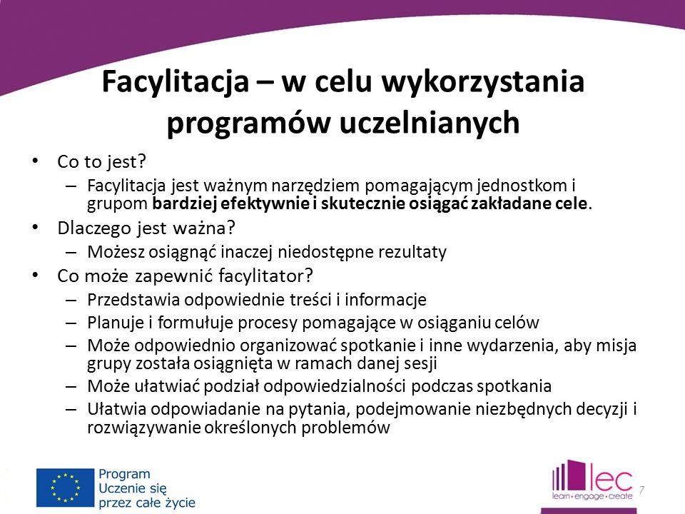 Facylitacja – w celu wykorzystania programów uczelnianych Co to jest.