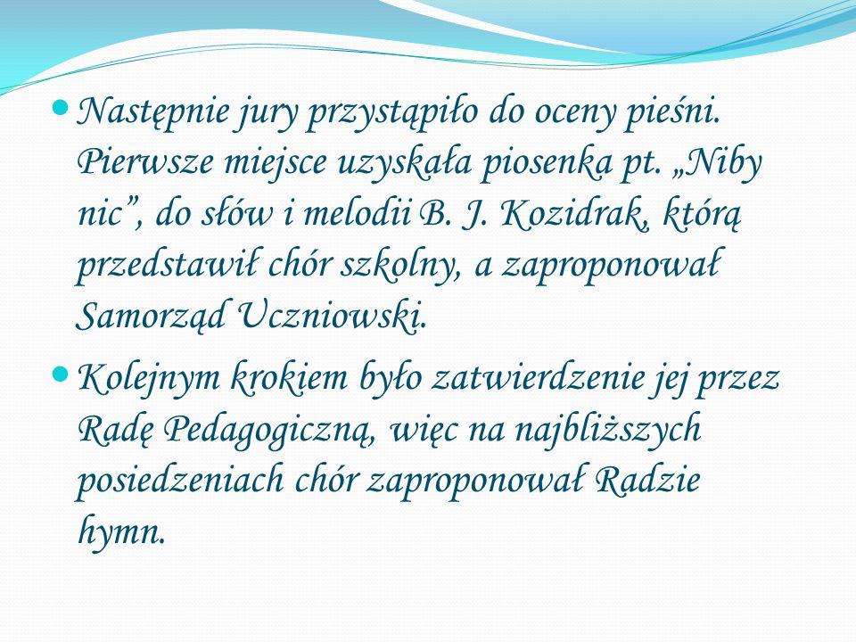 """Następnie jury przystąpiło do oceny pieśni. Pierwsze miejsce uzyskała piosenka pt. """"Niby nic"""", do słów i melodii B. J. Kozidrak, którą przedstawił chó"""