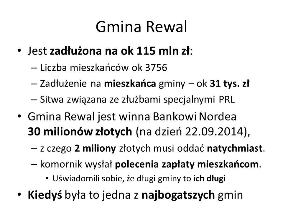 Gmina Rewal Jest zadłużona na ok 115 mln zł: – Liczba mieszkańców ok 3756 – Zadłużenie na mieszkańca gminy – ok 31 tys. zł – Sitwa związana ze złużbam