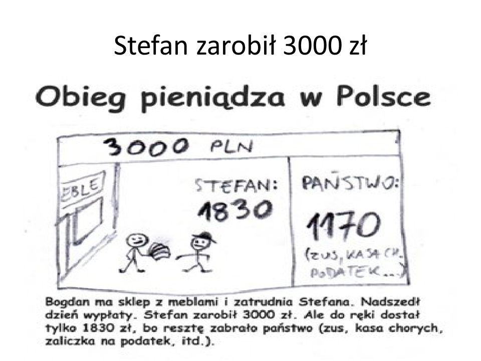Stefan zarobił 3000 zł