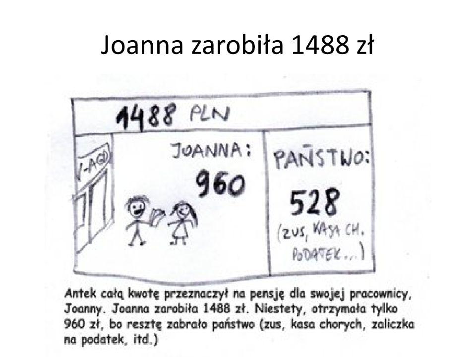 Joanna zarobiła 1488 zł