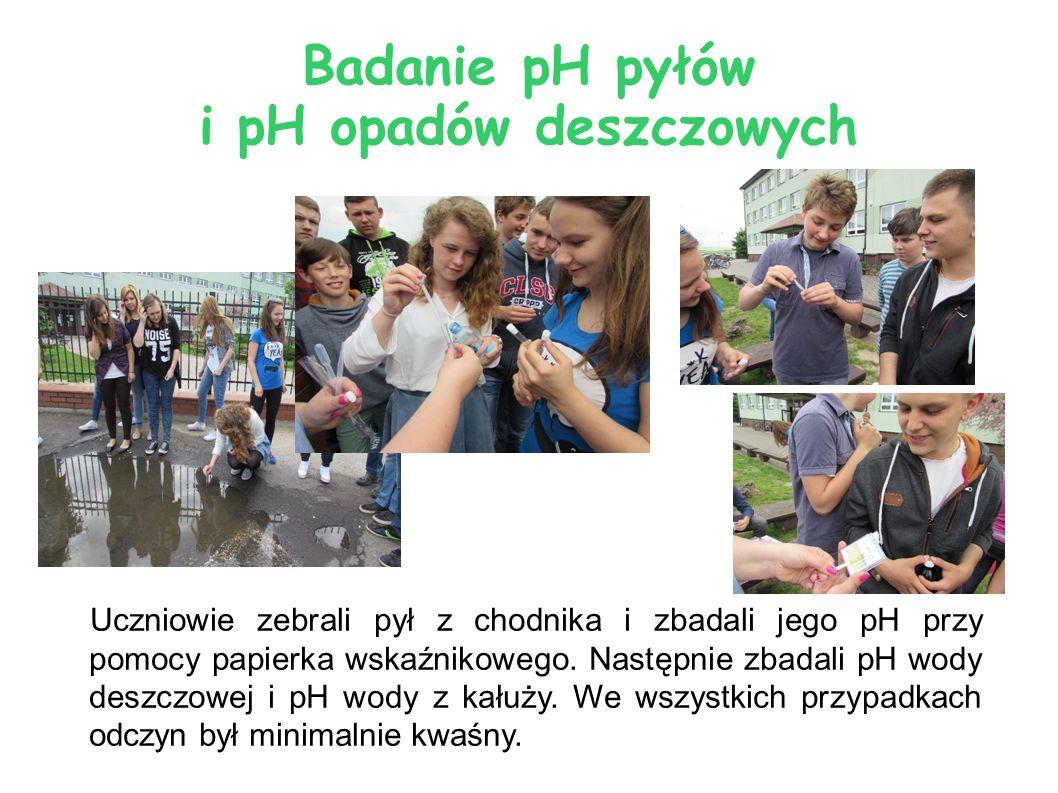 Badanie pH pyłów i pH opadów deszczowych Uczniowie zebrali pył z chodnika i zbadali jego pH przy pomocy papierka wskaźnikowego. Następnie zbadali pH w