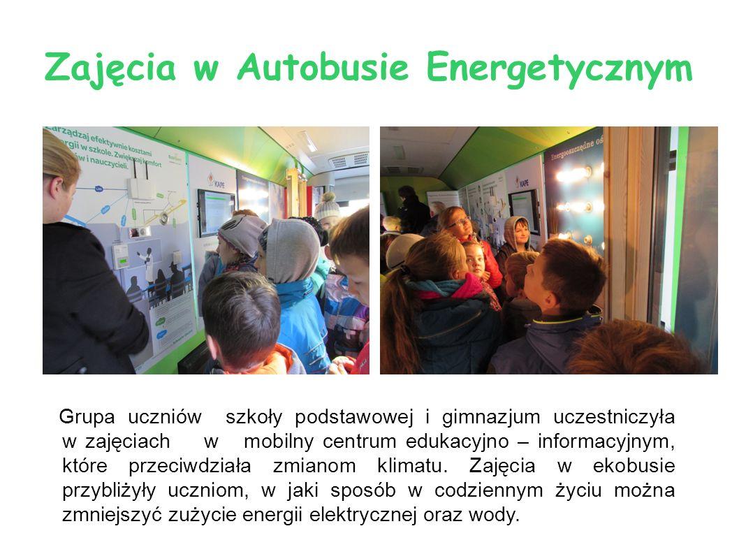 Zajęcia w Autobusie Energetycznym Grupa uczniów szkoły podstawowej i gimnazjum uczestniczyła w zajęciach w mobilny centrum edukacyjno – informacyjnym,