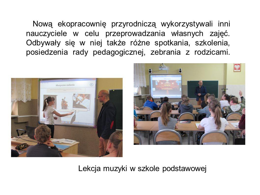 Nową ekopracownię przyrodniczą wykorzystywali inni nauczyciele w celu przeprowadzania własnych zajęć. Odbywały się w niej także różne spotkania, szkol