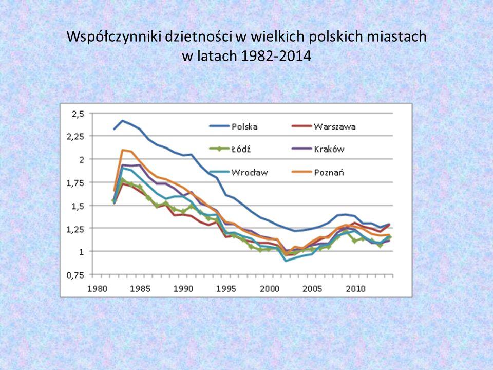 Natężenie migracji wewnętrznych w wielkich polskich miastach w latach 1999-2013 (w przeliczeniu na 1000 osób)