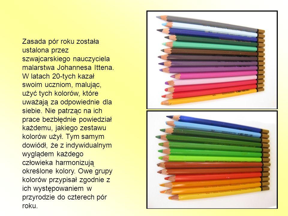 Zasada pór roku została ustalona przez szwajcarskiego nauczyciela malarstwa Johannesa Ittena. W latach 20-tych kazał swoim uczniom, malując, użyć tych
