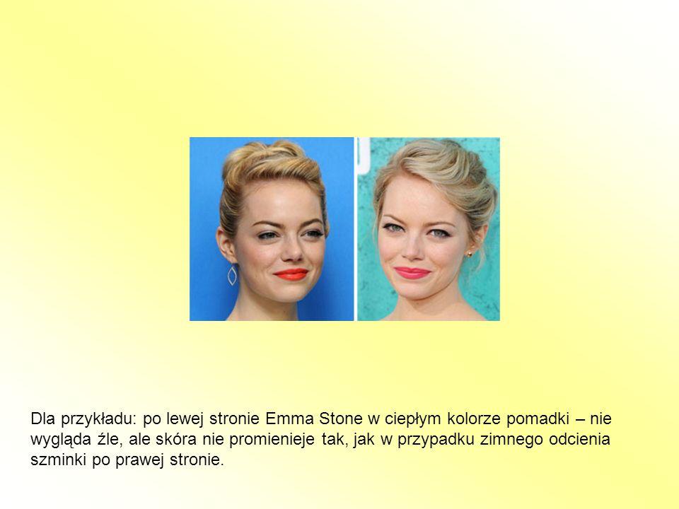 Dla przykładu: po lewej stronie Emma Stone w ciepłym kolorze pomadki – nie wygląda źle, ale skóra nie promienieje tak, jak w przypadku zimnego odcieni