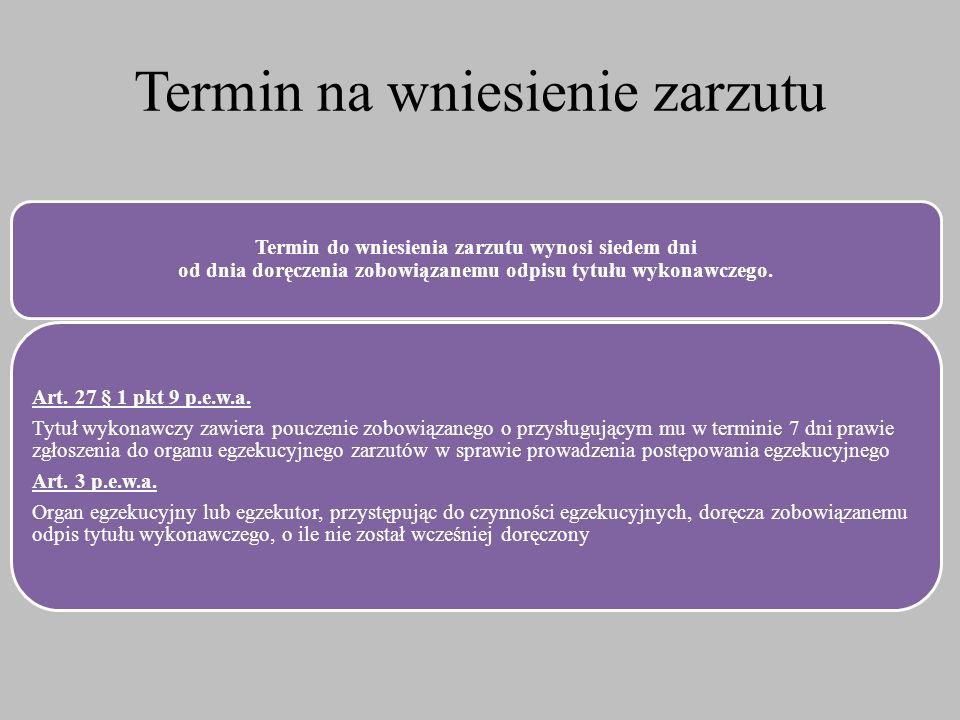 Termin na wniesienie zarzutu Termin do wniesienia zarzutu wynosi siedem dni od dnia doręczenia zobowiązanemu odpisu tytułu wykonawczego. Art. 27 § 1 p