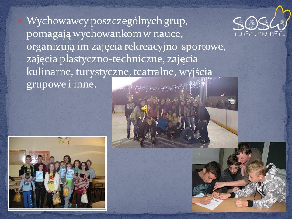 Wychowawcy poszczególnych grup, pomagają wychowankom w nauce, organizują im zajęcia rekreacyjno-sportowe, zajęcia plastyczno-techniczne, zajęcia kulinarne, turystyczne, teatralne, wyjścia grupowe i inne.