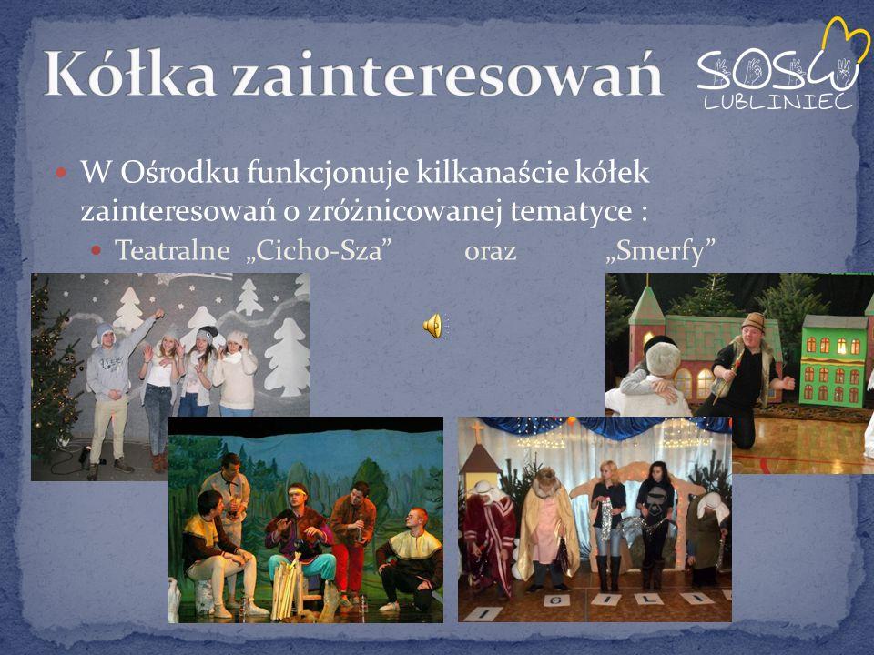 """W Ośrodku funkcjonuje kilkanaście kółek zainteresowań o zróżnicowanej tematyce : Teatralne """"Cicho-Sza oraz """"Smerfy"""