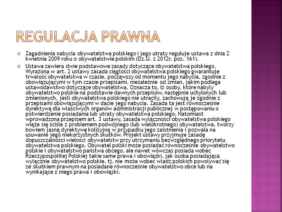  Zagadnienia nabycia obywatelstwa polskiego i jego utraty reguluje ustawa z dnia 2 kwietnia 2009 roku o obywatelstwie polskim (Dz.U. z 2012r. poz. 16