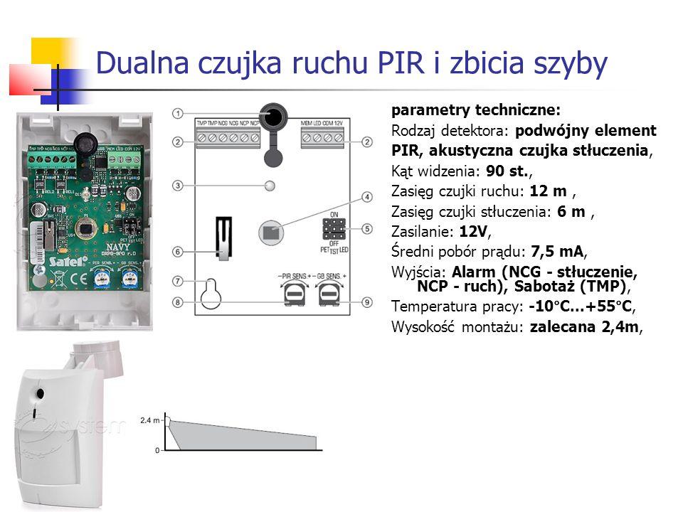Dualna czujka ruchu PIR i zbicia szyby parametry techniczne: Rodzaj detektora: podwójny element PIR, akustyczna czujka stłuczenia, Kąt widzenia: 90 st