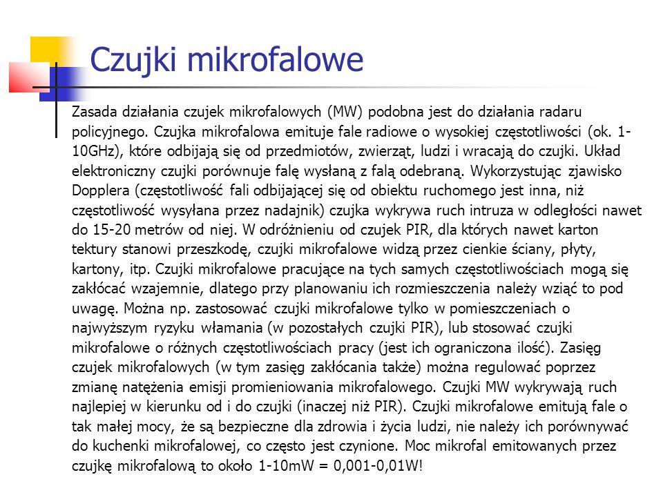 Czujki mikrofalowe Zasada działania czujek mikrofalowych (MW) podobna jest do działania radaru policyjnego. Czujka mikrofalowa emituje fale radiowe o
