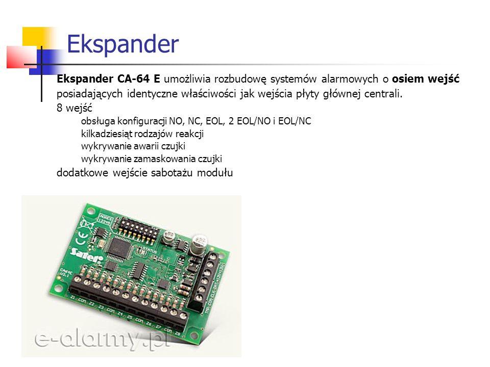 Ekspander Ekspander CA-64 E umożliwia rozbudowę systemów alarmowych o osiem wejść posiadających identyczne właściwości jak wejścia płyty głównej centr