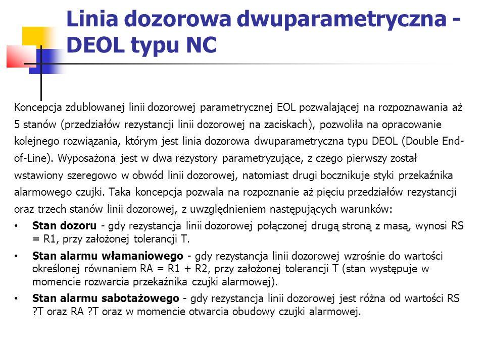 Linia dozorowa dwuparametryczna - DEOL typu NC Koncepcja zdublowanej linii dozorowej parametrycznej EOL pozwalającej na rozpoznawania aż 5 stanów (prz