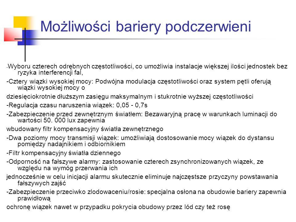 Możliwości bariery podczerwieni - Wyboru czterech odrębnych częstotliwości, co umożliwia instalacje większej ilości jednostek bez ryzyka interferencji
