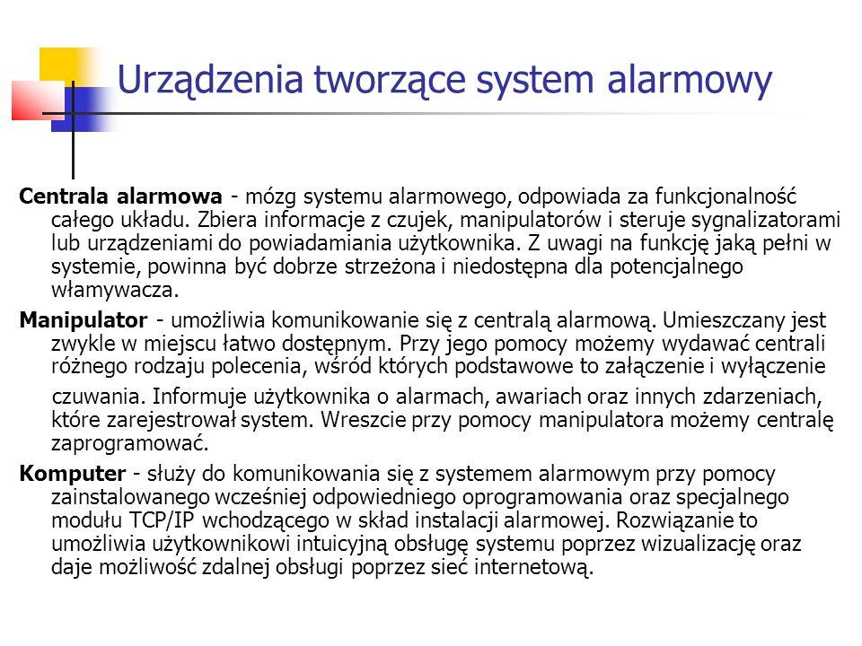 Czujki - pełnią rolę zmysłów systemu alarmowego.