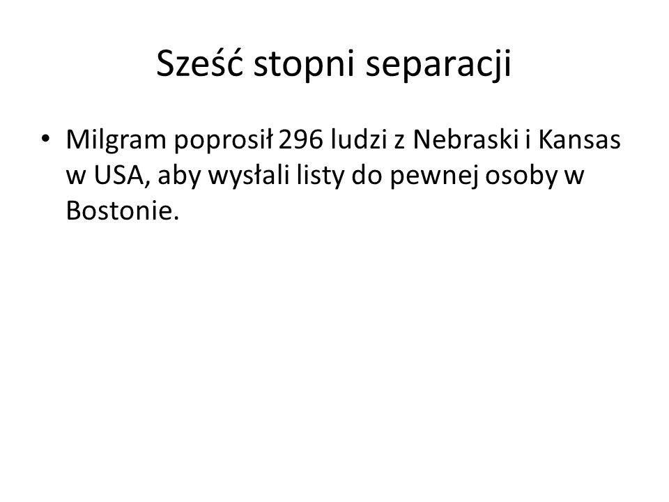 Sześć stopni separacji Milgram poprosił 296 ludzi z Nebraski i Kansas w USA, aby wysłali listy do pewnej osoby w Bostonie.