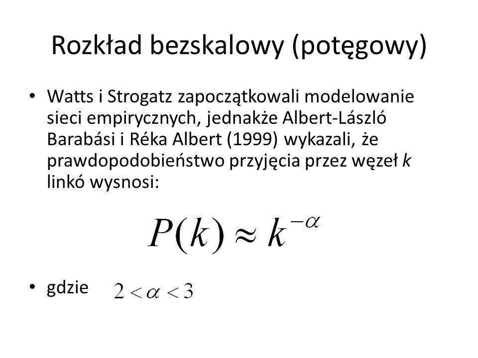 Rozkład bezskalowy (potęgowy) Watts i Strogatz zapoczątkowali modelowanie sieci empirycznych, jednakże Albert-László Barabási i Réka Albert (1999) wyk
