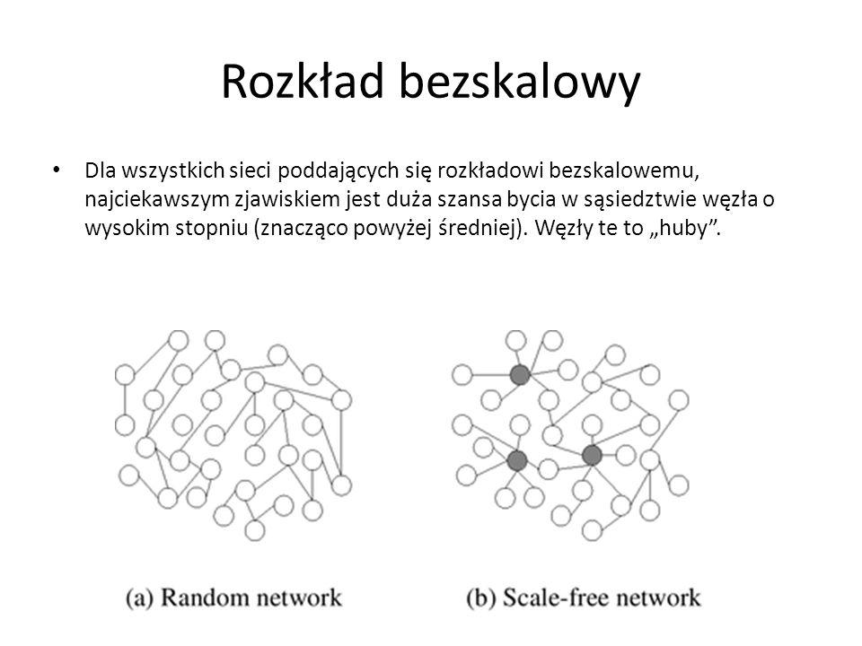 Rozkład bezskalowy Dla wszystkich sieci poddających się rozkładowi bezskalowemu, najciekawszym zjawiskiem jest duża szansa bycia w sąsiedztwie węzła o