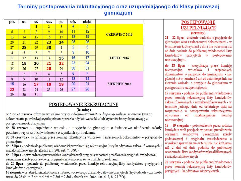Terminy postępowania rekrutacyjnego oraz uzupełniającego do klasy pierwszej gimnazjum