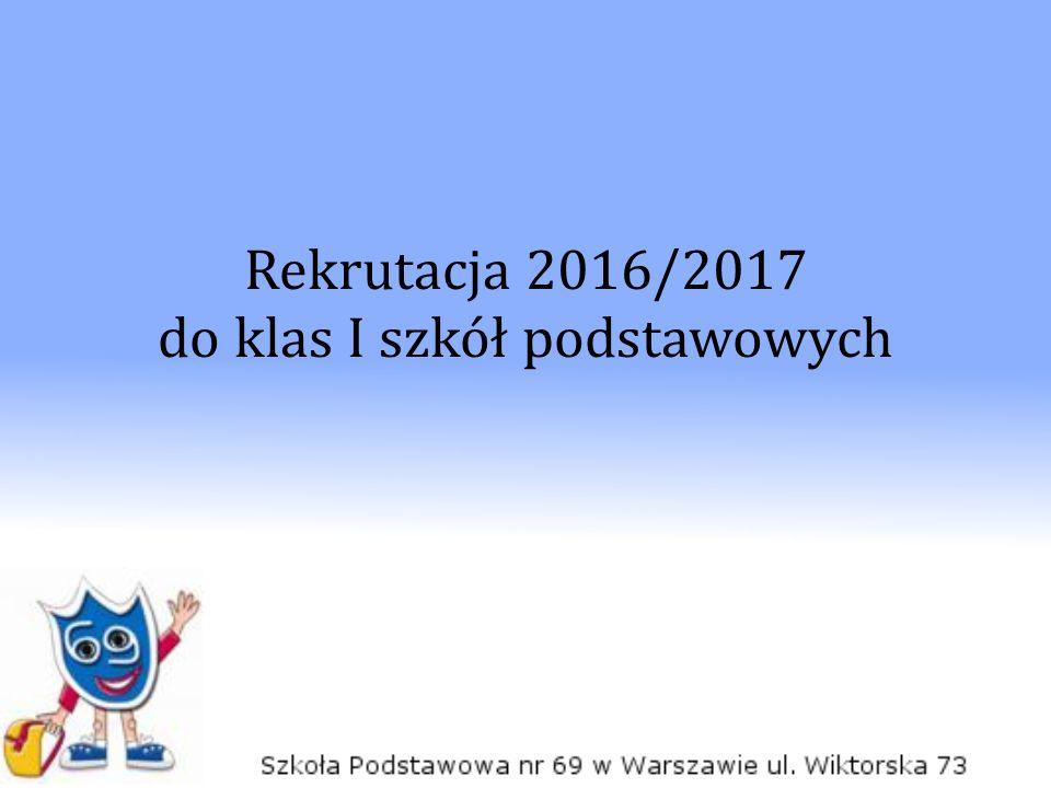 Rekrutacja 2016/2017 do klas I szkół podstawowych