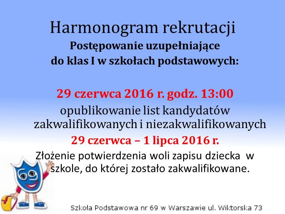 Harmonogram rekrutacji Postępowanie uzupełniające do klas I w szkołach podstawowych: 29 czerwca 2016 r.