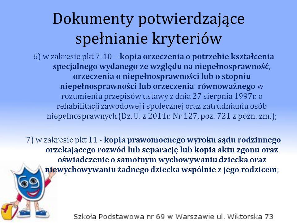 Dokumenty potwierdzające spełnianie kryteriów 6) w zakresie pkt 7-10 – kopia orzeczenia o potrzebie kształcenia specjalnego wydanego ze względu na niepełnosprawność, orzeczenia o niepełnosprawności lub o stopniu niepełnosprawności lub orzeczenia równoważnego w rozumieniu przepisów ustawy z dnia 27 sierpnia 1997r.