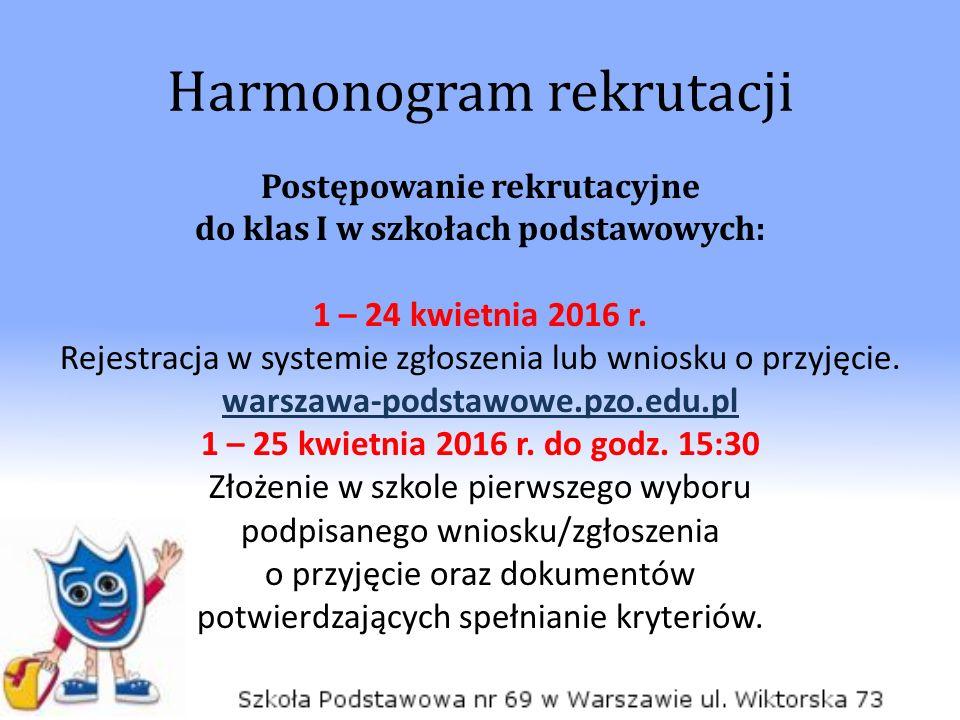 Harmonogram rekrutacji Postępowanie rekrutacyjne do klas I w szkołach podstawowych: 1 – 24 kwietnia 2016 r.