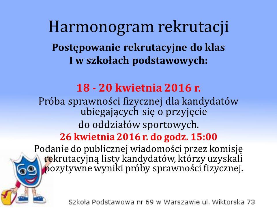 Harmonogram rekrutacji Postępowanie rekrutacyjne do klas I w szkołach podstawowych: 18 - 20 kwietnia 2016 r.