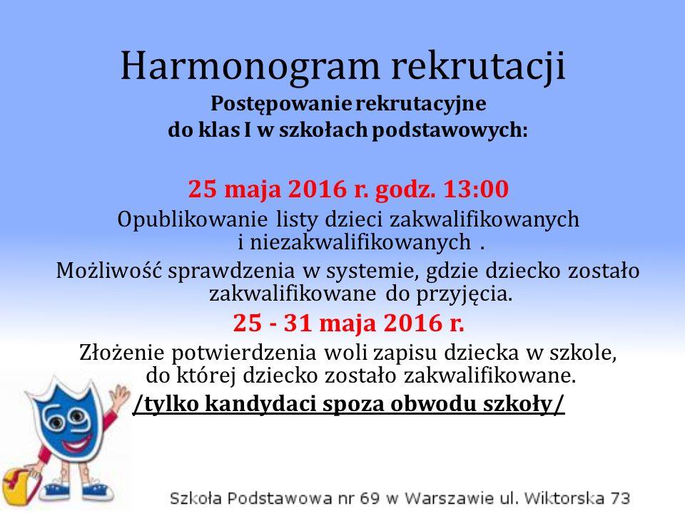 Harmonogram rekrutacji Postępowanie rekrutacyjne do klas I w szkołach podstawowych: 25 maja 2016 r.