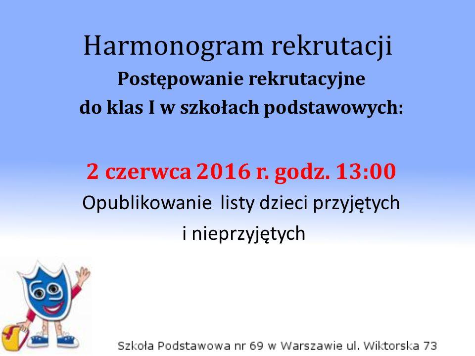 Harmonogram rekrutacji Postępowanie rekrutacyjne do klas I w szkołach podstawowych: 2 czerwca 2016 r.
