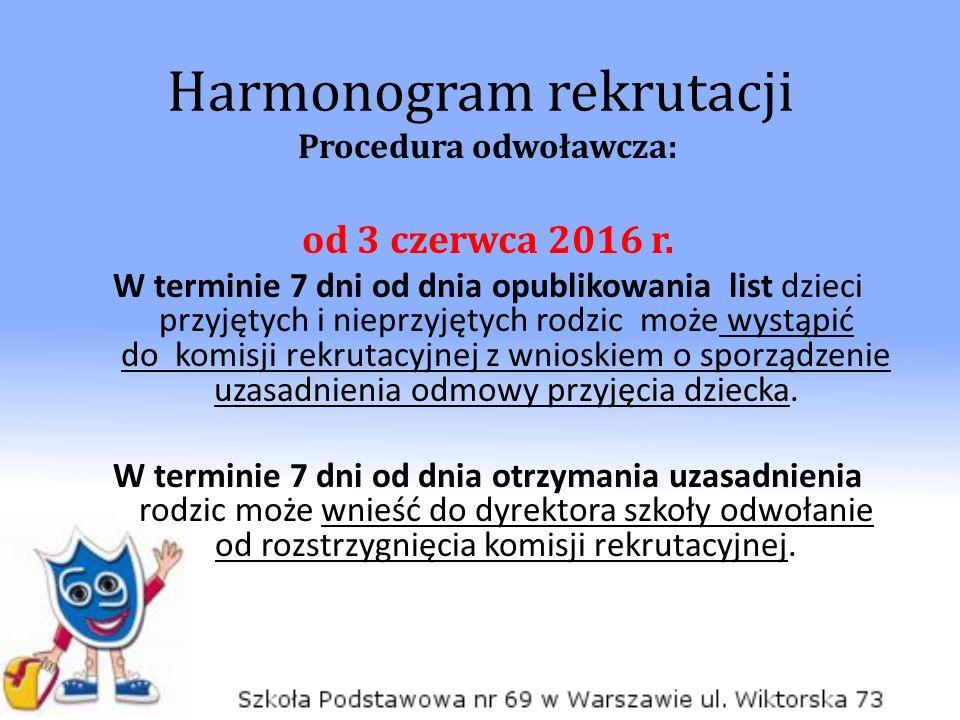Harmonogram rekrutacji Procedura odwoławcza: od 3 czerwca 2016 r. W terminie 7 dni od dnia opublikowania list dzieci przyjętych i nieprzyjętych rodzic