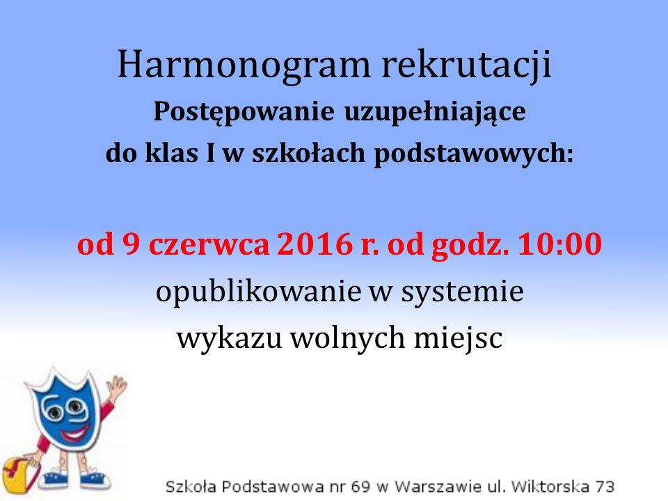 Harmonogram rekrutacji Postępowanie uzupełniające do klas I w szkołach podstawowych: od 9 czerwca 2016 r.