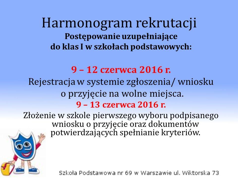 Harmonogram rekrutacji Postępowanie uzupełniające do klas I w szkołach podstawowych: 9 – 12 czerwca 2016 r. Rejestracja w systemie zgłoszenia/ wniosku