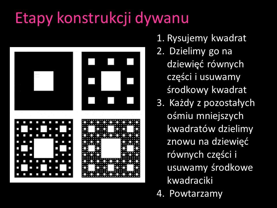 Etapy konstrukcji dywanu 1.Rysujemy kwadrat 2. Dzielimy go na dziewięć równych części i usuwamy środkowy kwadrat 3. Każdy z pozostałych ośmiu mniejszy