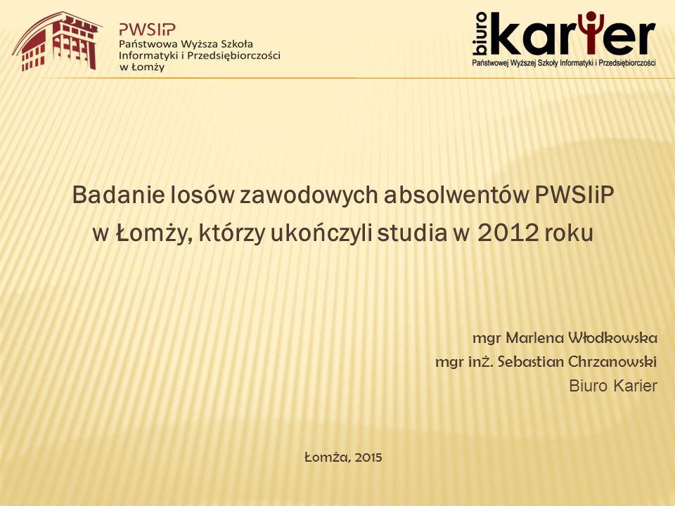 Badanie losów zawodowych absolwentów PWSIiP w Łomży, którzy ukończyli studia w 2012 roku mgr Marlena Włodkowska mgr in ż.