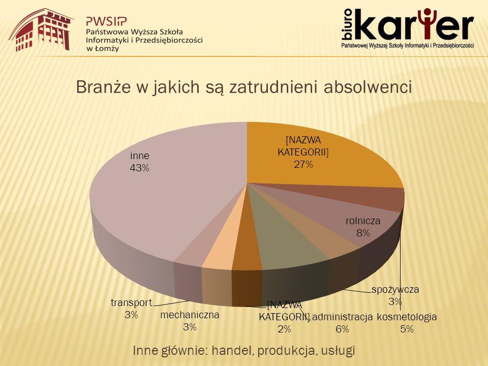 Branże w jakich są zatrudnieni absolwenci Inne głównie: handel, produkcja, usługi