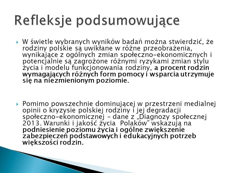  W świetle wybranych wyników badań można stwierdzić, że rodziny polskie są uwikłane w różne przeobrażenia, wynikające z ogólnych zmian społeczno-ekonomicznych i potencjalnie są zagrożone różnymi ryzykami zmian stylu życia i modelu funkcjonowania rodziny, a procent rodzin wymagających różnych form pomocy i wsparcia utrzymuje się na niezmienionym poziomie.