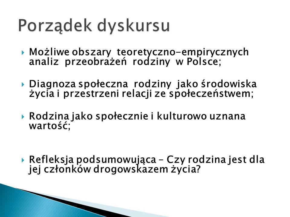  Możliwe obszary teoretyczno-empirycznych analiz przeobrażeń rodziny w Polsce;  Diagnoza społeczna rodziny jako środowiska życia i przestrzeni relacji ze społeczeństwem;  Rodzina jako społecznie i kulturowo uznana wartość;  Refleksja podsumowująca – Czy rodzina jest dla jej członków drogowskazem życia