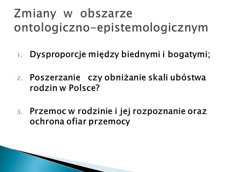 1. Dysproporcje między biednymi i bogatymi; 2. Poszerzanie czy obniżanie skali ubóstwa rodzin w Polsce? 3. Przemoc w rodzinie i jej rozpoznanie oraz o