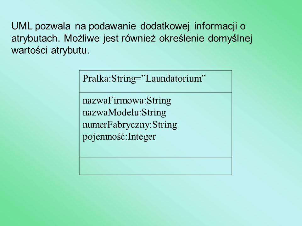 """UML pozwala na podawanie dodatkowej informacji o atrybutach. Możliwe jest również określenie domyślnej wartości atrybutu. Pralka:String=""""Laundatorium"""""""