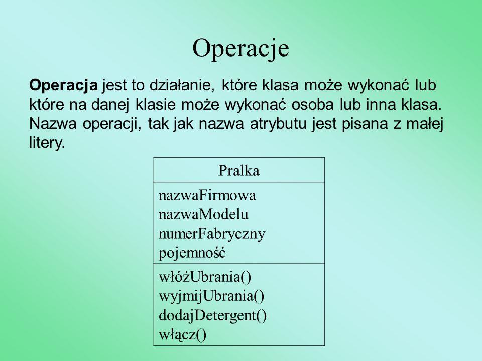 Operacje Operacja jest to działanie, które klasa może wykonać lub które na danej klasie może wykonać osoba lub inna klasa. Nazwa operacji, tak jak naz