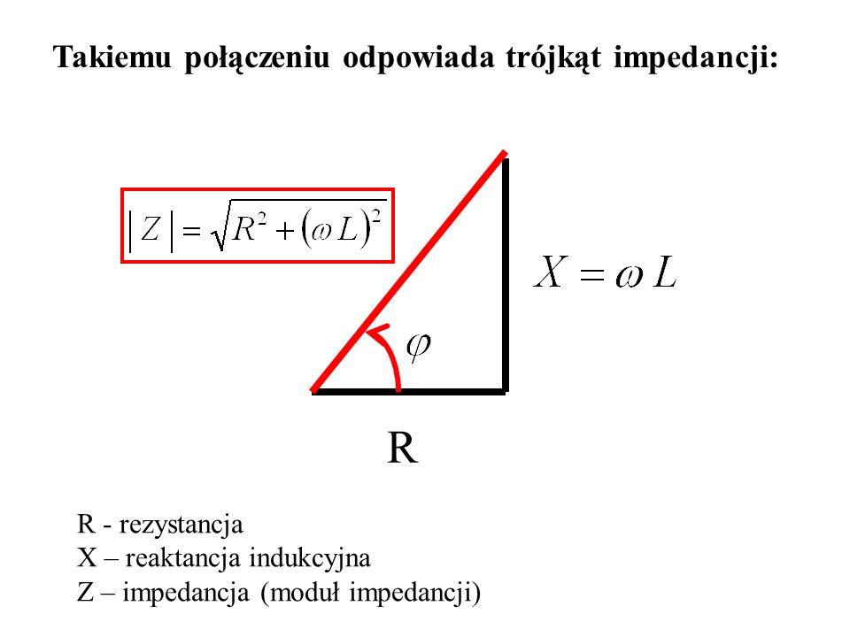 Takiemu połączeniu odpowiada trójkąt impedancji: R R - rezystancja X – reaktancja indukcyjna Z – impedancja (moduł impedancji)