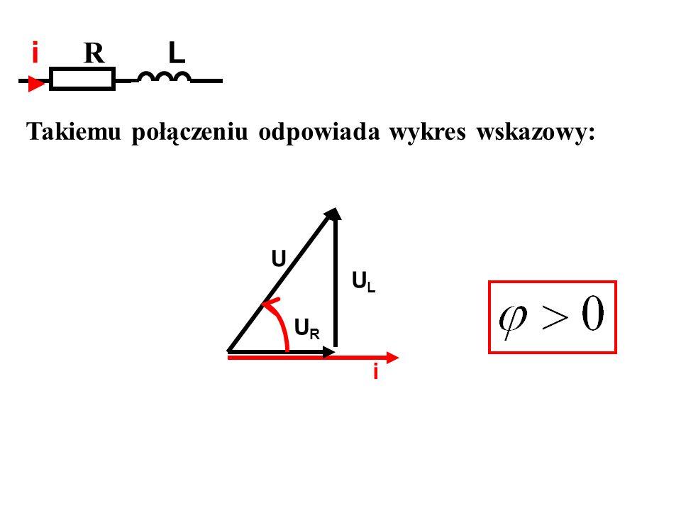 Takiemu połączeniu odpowiada wykres wskazowy: R L i i URUR ULUL U