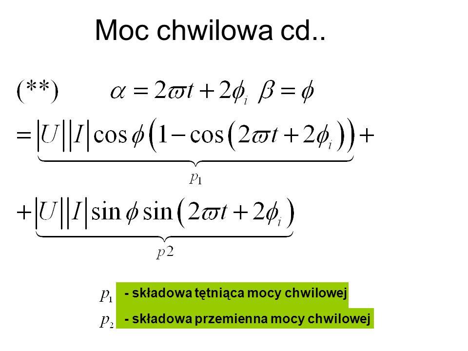 Moc chwilowa cd.. - składowa tętniąca mocy chwilowej - składowa przemienna mocy chwilowej