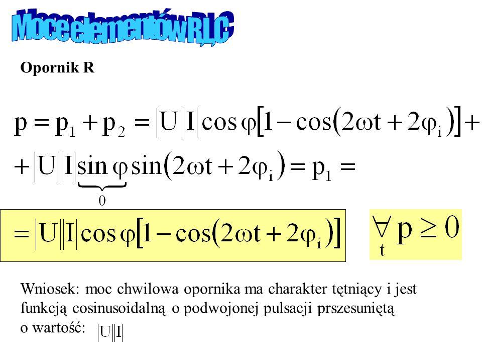 Opornik R Wniosek: moc chwilowa opornika ma charakter tętniący i jest funkcją cosinusoidalną o podwojonej pulsacji prszesuniętą o wartość: