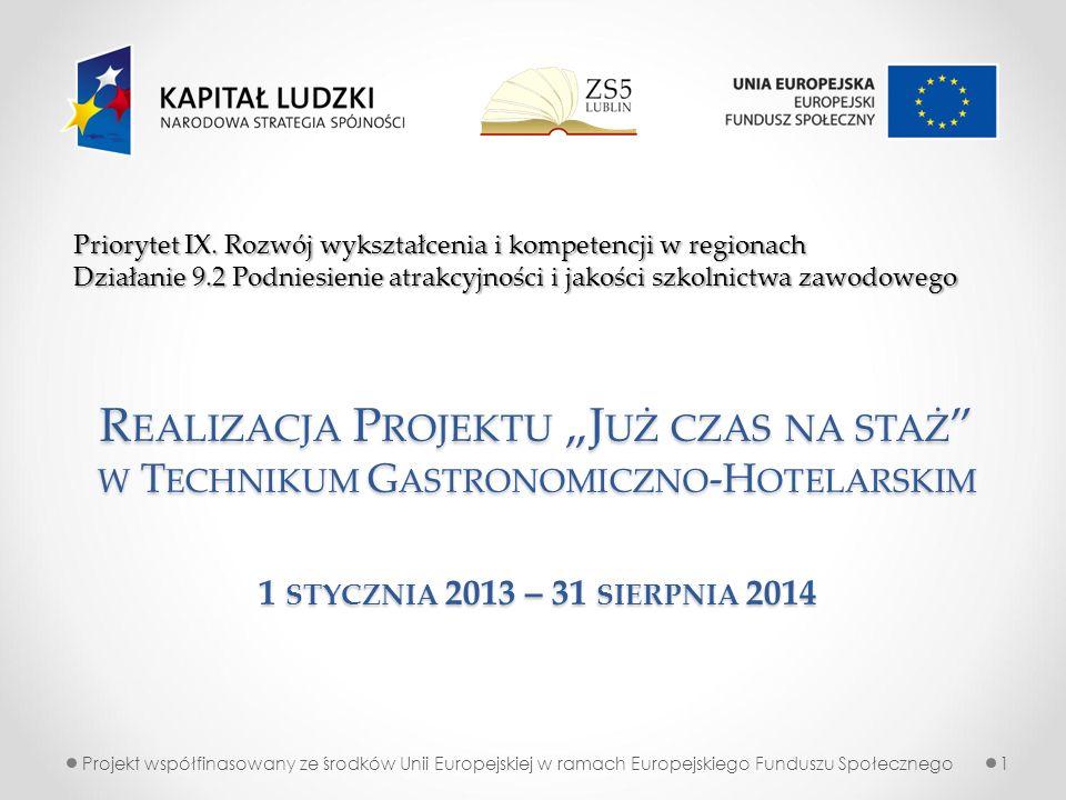 Projekt współfinasowany ze środków Unii Europejskiej w ramach Europejskiego Funduszu Społecznego1 Priorytet IX. Rozwój wykształcenia i kompetencji w r